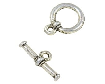 5 Sets 12 mm Base Metal Silver Tone Toggle Clasps (BMSTGL1218)