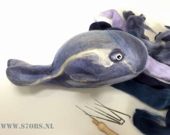 Summer sale! -20% Super soft needle felted blue toy whale, made with european Merino wool