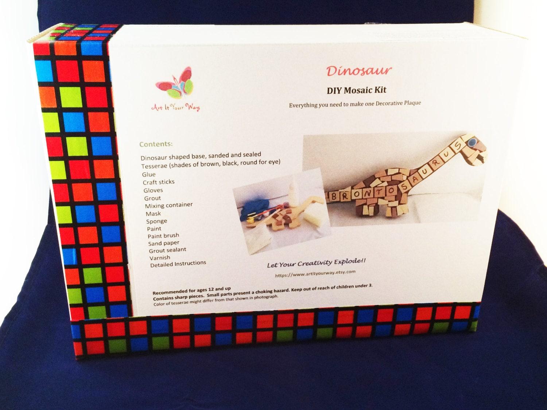 dinosaur diy kids kit, diy mosaic art for kids, easy, fun
