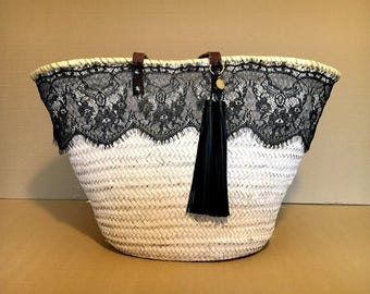 Decorated carrycot / lace basket / rack ibizenco / basket Beach / summer bag