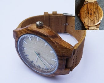 Men wood watch face and leather bracelet personalized, mens watch gift