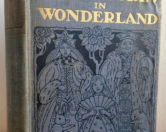 Alice's Adventures in Wonderland, Lewis Carroll Rare A E Jackson illustrated first edition, 1919 antique tipped color plates children's book