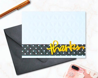 Thanks -- A2 Blank Greeting Card with matching Polka Dot lined envelope - Made with Gold Foil