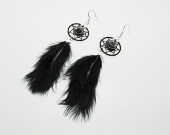dream catcher earrings, pink feathers and black