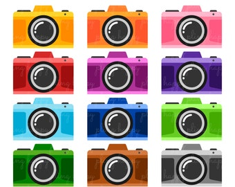 70% OFF Colorful Camera Cliparts, Colorful Camera Clipart Graphics, Personal & Small Commercial Use, Instant Download