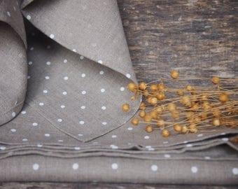 Linen Tea Towels, Natural Linen with white dots Linen Kitchen Towels, Eco Kitchen Towels, Linen Gift