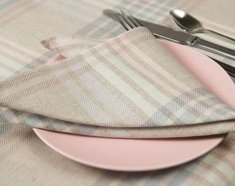 Linen/Cotton Napkins, Pastel Colors Linen Napkins, Table Decoration, Dining Table Napkins