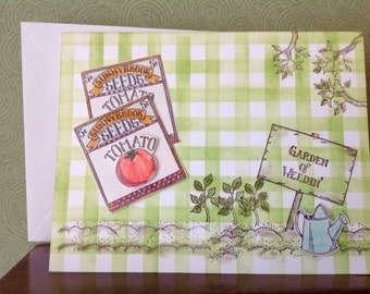 Handmade card- all occassion- Homegrown- gardening card- male or female- blank card-friendship card- friend card-tomato card-watering can