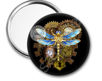 Steampunk Christmas gift Pocket mirror
