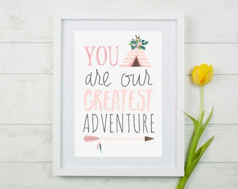 """Nursery """"You Are Our Greatest Adventure"""" Wall Decor Print"""