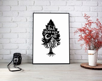 "Tree Silhouette ""Find Your Own Path"" Wall Decor Print"