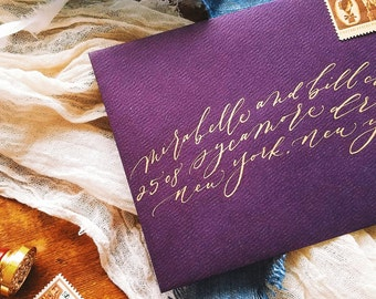 Free-flowing, romantic modern calligraphy wedding / party / event envelopes - custom calligraphy addressing