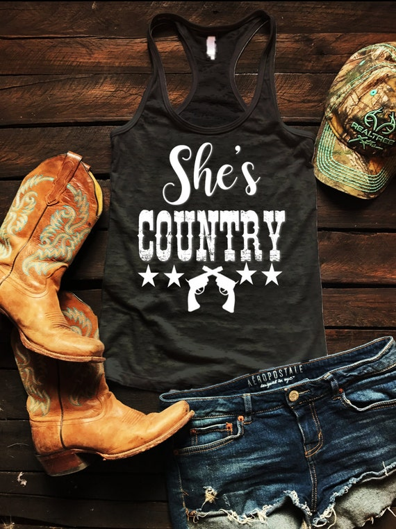 She's Country Pistol Revolvers Burnout Tank Country Tank Top, Spring Break Tank Top, Southern Tank Top, Concert Tank Top, Drinking Shirt