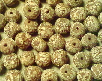 Rustic wood beads; natural Mahogany seed pod, rough round beads, approximately 8x9mm, 10pcs/1.60.