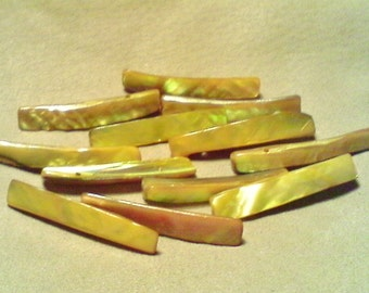 Stick beads; pretty goldenrod, Mother of Pearl, stick beads, double drilled, average size 45x5x8mm, 12pcs/2.60.