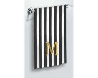 custom black white hand towels bath towels or beach towel monogrammed initial letter