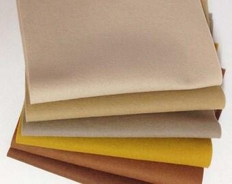 "Six pack 8"" x 12"" Assorted Browns Merino Wool Felt"