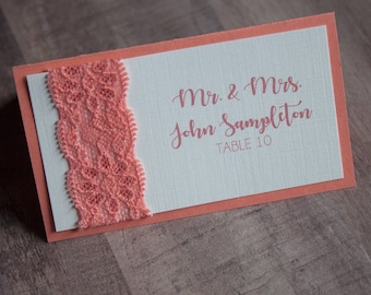 Coral Place Card, Custom Place Card, Lace Place Card