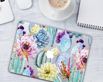 Tropical Flowers Case Macbook 12 Air 11 Macbook Pro 13 MacBook Pro with Retina 13 Floral Macbook Pro 13 Touch Bar Watercolor Cactus Case