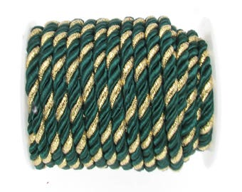 5mm Round Green and Gold Twisted Polyester and Satin Cord, Semi-soft Cord,Twisted Designer Cord sold in Lengths of 2 Meters / 2.2  Yards