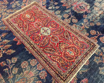 """Antique Persian Sarouk Rug 2'2"""" x 4'2"""" Perfect Condition c.1930"""