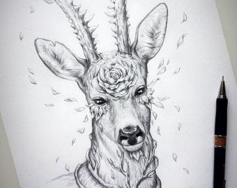 Forest Spirit Offspring - Original Drawing - Fantasy Pencil Art - Surreal Deer Fawn Artwork Sketch - Spirits Offspring Series by JojoesArt