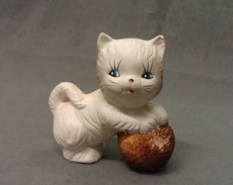 Beige Cat with Blue Eyes with Tan Ball of Yawn Cat Figurine