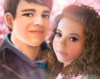 Custom  digital portrait, cartoon Portrait, couple portrait, digital drawing, printable portrait, portrait from photo, personalized gift