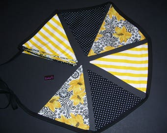 FLORAL BUNTING BANNERS - floral buntings - black & yellow floral buntings - floral home decor - floral garlands - floral decorations