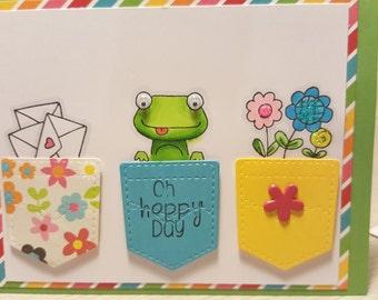 Handmade Frog Pockets Card
