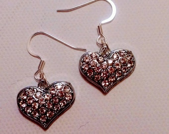 Crystal  Heart Charm Earrings. Mother's Day Gift.