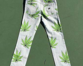 Printed Weed Jeans