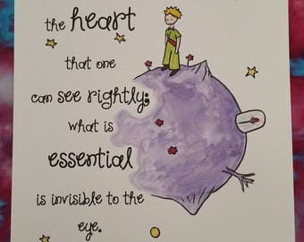 A4 The Little Prince Quote and Watercolour Painting Hand Painted Planet Rose Antoine de Saint-Exupéry Children/Adult Book