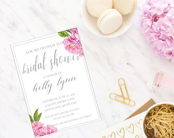 Bridal Shower Invitation - Baby Shower - 5x7 - Peony - Spring - Floral - Calligraphy - Jen K Calligraphy