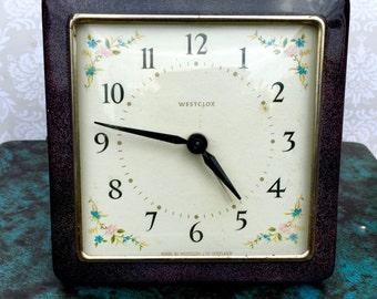 Vintage Westclox Alarm Clock, Scottish Alarm Clock, Rare Westclox Square Clock,