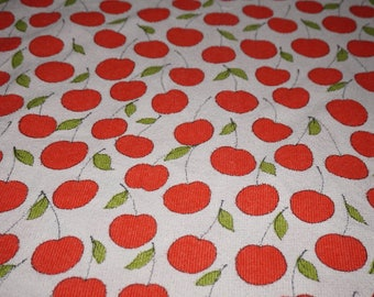 Vintage fabric of fabric 70s 70s Terry with cherries cherry o. apples terry flower power 50 x 125 cm (0.5 x 1.3 yards)