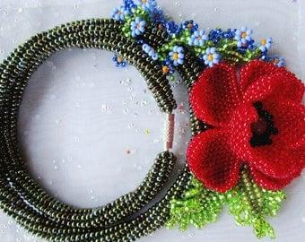 Ukrainian jewelry.  Ukrainian necklace.  Beaded jewelry. Poppy