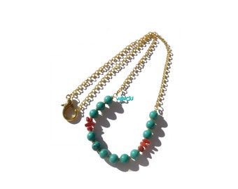 Long necklace with turquoise and coral