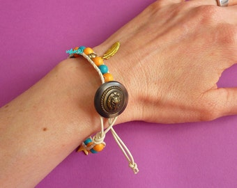 Wrap bracelet leather and wooden beads