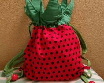 Drawstring Strawberry Bag