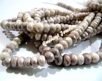 AAA Quality Genuine Silverite Gemstone , Rondelle faceted beads , Gorgeous quality size 7-8 mm approx-8 inches Length , Mystic Coated Beads