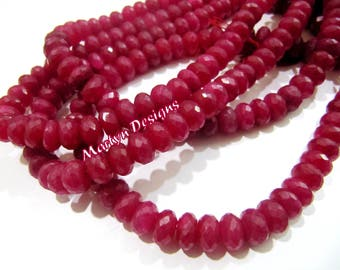 Beautiful Ruby Rondelle Faceted Beads , Size 8-9mm , Length 13 inch long , Ruby Gemstone Beads , Micro Faceted Gemstone Beads , Dyed Beads