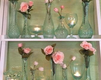 Sea Glass, Watercolor, Seafoam, Beach Wedding, Centerpiece, Oceanfront Wedding, Mint, Blush, Bud Vases, Bouquet Vases, Votives