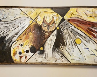"""Mixed Media Acrylic Painting of Owl: """"Flying High"""" 49 1/2"""" X 25 1/2"""" Framed"""