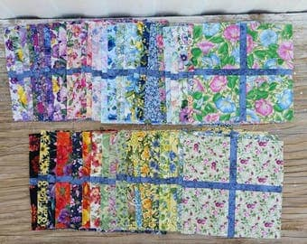 Lot of 46 Floral Quilting Squares, Unfinished Quilting Squares, Spring Material, Easter Material, Quilting Supplies, Crafting supplies