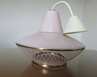 Wall lamp in light pink glass Golden pinstripes mid century 1950-1960-50's 60's mid century french vintage glass candlestick for lamp