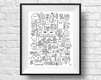 Ghost Illustration, Ghost Doodle, Whimsical Nursery Art, Black and White Drawing, Pen and Ink Drawing, Nursery Decor, Nursery Wall Art