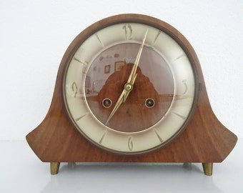 Dutch Vintage ORFAC Mantel Mantle Desk Shelf Clock (Junghans Hermle era)