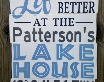 Personalized Lake House  Sign/Custom Lake House Sign/Family Lake Sign/Latitude Longitude Lake House/gps lake house sign/Family Lake House