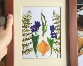 Onion fern and violet - print